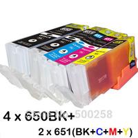 12 ink cartridge (2set+2BK) Compatible PGI-650 CLI-651 for Canon printer Pixma MG6460 MG7160