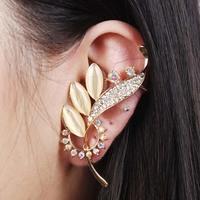 New Women Rose Gold Opal Clip Earring Statement Jewelry Gold Rhinestone Ear Cuff Leaf Stud Earrings Free Shipping