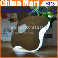 20pcs/lot Brand New Saling Creative Energy saving Clovers ultra bright Human Body Induction LED Lamp , Motion Sensor Night Light