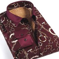 Designer Fashion Brand Men Shirt Camisa Long Sleeve Autumn Winter Wine Red Men Floral Shirts Plus size M-4XL