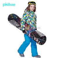 New Fashion 2015 Boy's Ski Suit Set Kids Outdoor Sports Chidlren's winter Clothing Set windproof Ski Jacket +  Ski Pant PH8017
