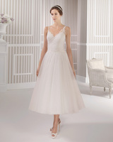 2015 New Style Short Bridal Dresses Double Spaghetti White Tulle Pleat Lace Applique Mid-calf Wedding Dress W9185