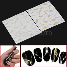 Hot 2Pcs Zips Zipper Style Nail Art Stickers Fingernail Decals DIY Decoration