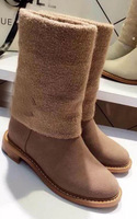 Free Shipping 2014  New Fashion Style Brand Genuine Leather and Woolen Boots women shoes cocp8894
