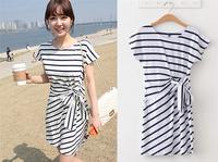 2014 New Fashion Women Summer Striped Slim Elastic Casual Dresses Crew Neck Comfy Short Sleeve Cotton Dress With Belt