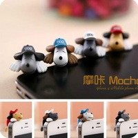 baseball cap pet dog anti dust plugs mobile charm for iphone 4 4s cell phones accessories retail package wholesale
