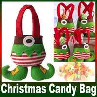 Wholesale 2014 New 9 Inches Elf Candy Bag Christmas Gift Bag Christmas Decoration Supplies Size: 22X18cm Free Shipping