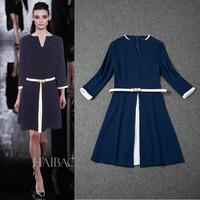 Fall 2014 Stretch Cotton 3/4 Sleeve Shift  Dress (size M -XXL) 140917Z01