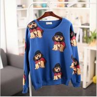 2014 New Autumn and winter new style  women cotton hoodies dog printed fleece warm women's sweatshirts 4color 803L