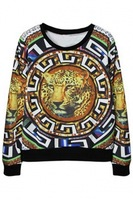 2014 New women Print Sweatshirt  Vintage Leopard Pattern Women Round Neckline Long Sleeves Sweatshirt