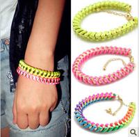 Min.Order $8.8(Mix Order) Hot Sale Europe America Fashion Jewelry Neon Color Woven Chain Women Bracelet FB0026