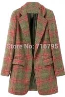 2014 Winter Graceful Women Long Sleeves Open-Front Plaid Woolen Coat Plaid Outwear
