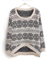 long sleeve sweaters for women 2014 Vintage totem loose pullovers short knitwears top sale