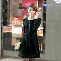 Elegant Black Lace Women Dress Plus Size 2014 Autumn XL-5XL Female Zipper Clothing Big Size Long Sleeve Lady Vintage Dresses