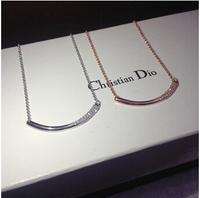 Guaranteed 100% 316L Titanium Steel big rhinestone moon and star long necklace trendy statement 2014  N321