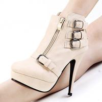 Free shipping new  Fashion PU leather women boots leather buckle decorative metal zipper  waterproof  High-heeled women