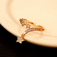YTJZ016 Classic Luxury Charm Bijoux Full Crystal Star Wedding Party Gift Rings For Women 18K Real Gold Plated Anel Ouro Jewelry
