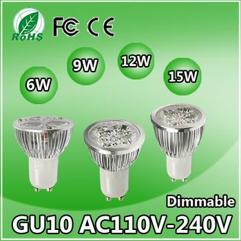 10 шт. с регулируемой яркостью Gu10 высокой мощности 6 Вт 9 Вт 12 Вт 15 Вт из светодиодов прожектор лампы лампы 110 В - 240 В алюминиевый корпус теплый холодный белый CE ROHS сертифицированы
