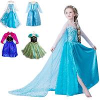Hot 2014 New frozen dress girls vestidos de menina elsa anna summer dress princess cosplay costume party dress Free Shipping