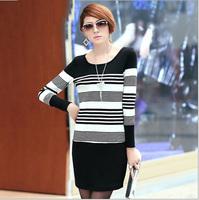 Elegant Plus Size Striped Dress XL-5XL 2014 Autumn Female Clothing Winter Big Size Long Sleeve Lady Slim Base Dress Fashion