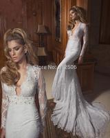 Slim Split V-Neck Sheath Wedding Drsses 2014 Sheer Long Sleeve Beads Sash Lace Bridal Gowns ..