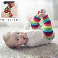 lovely Pure cotton children's leg warmers/children's knee The rainbow stripe children's leg warmers wrist
