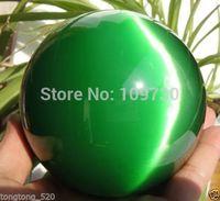 001245 AAA+++ Hot Sell ASIAN QUARTZ GREEN CAT EYE CRYSTAL BALL SPHERE 100MM + STAND