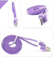 Free shipping!! 1 meter colorful flat Micro USB Cable 2.0 Data sync Charger cable For Samsung galaxy and android phone ivopor