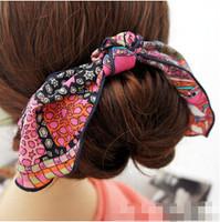 25pcs/lot Free Shipping Boho Style Chiffon Bow Printed Hair Band Hair Holder Women