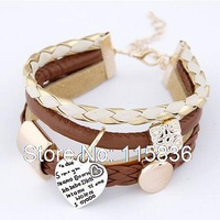 fashion wild metal engraved wording heart pendant simple metal charm bracelet brown leather bracelets for women DL91791