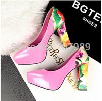Vogue New 2014 Women's High Heels Shoes Woman Fashion Shoes Women Pumps 7Colors Thick Dress Shoes