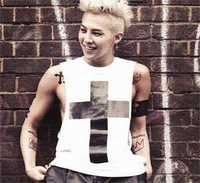 2014 New Fashion EXO BIGBANG G-dragon MV CROSS KPOP GD Same Style Men Tank Tops