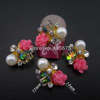 MNS622 Glitter nail rhinestones 3d flower nail art DIY scrapbooking cell phone decorations 50pcs