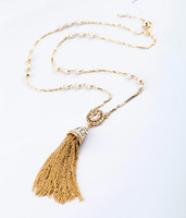 2014 Women Crystal Embellishment Tassel Necklace Pearl Chain Long Chain Necklace 5pcs/lot Free Shipping
