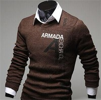2014 New Brand Fashion Hedging Slim letters printed Men's Mixed Colors Thick Fleece Sweater