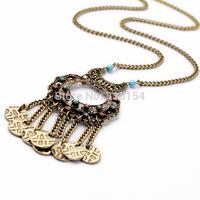 2014 Women Vintage Coin Pendant Long Chain Necklace Women Long Necklace 15pcs/lot Free Shipping