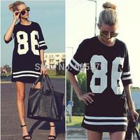 Black Oversized 86 American Baseball T-shirt Tee Top Varsity Loose Dress