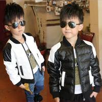 Retail 2014 new fashion autumn winter cotton warm coat children outerwear for boy black and white locomotive jackets AB349
