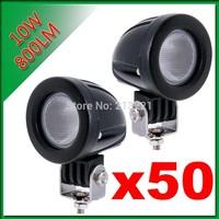 50PCS 10W CREE LED Car WORK LIGHT FOG 800LM MODULAR PENCIL 4WD 12V/24V 4X4 IP67 ROUND OFFROAD SPOTLGHTS