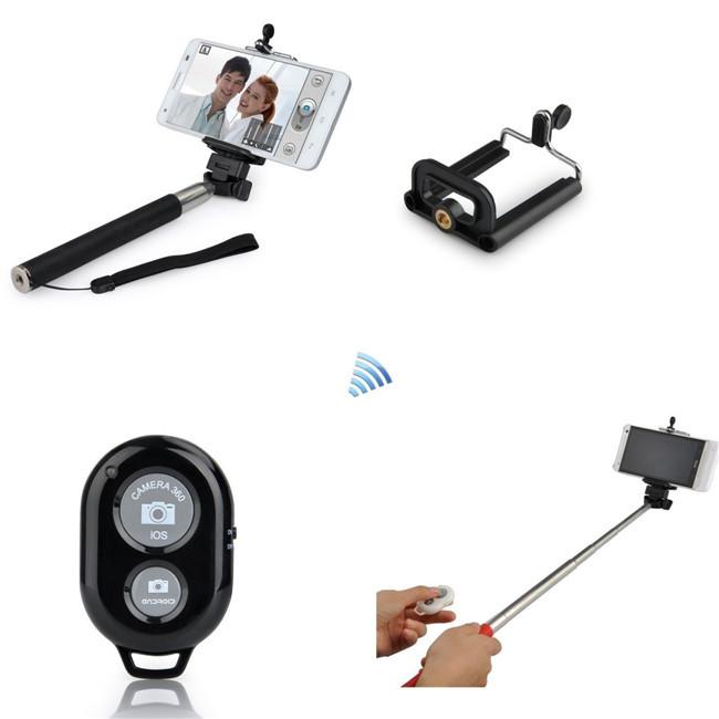 wired selfie stick handheld monopod built in shutter extendable clip holder. Black Bedroom Furniture Sets. Home Design Ideas