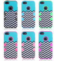 Green Waves Case For Apple iPhone 5C Hard Soft Rubber Hybrid Armor High Impact Cover Free Shipping