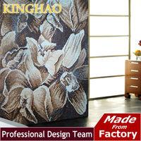 [KINGHAO]Artistic wall backsplash Black background Brown flower glass mural Living room mosaic wallpaper CP1022