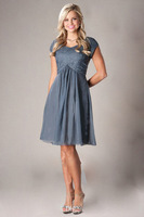 2014 Lovely Charming Elegant A-Line Short Sleeves Lace Short Bridesmaid Dresses for Wedding Custom Made Any Size&Color
