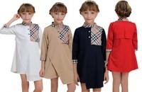 Wholesale 2014 England Style Girl Plaid Patched Dress British Kids Child Petticoat Stand Collar Chiffon Shirt Dresses 4 Colo