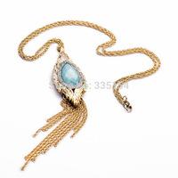 2014 Women Turquoise Pendant Tassel Long Chain Necklace Women Long Necklace 5pcs/lot Free Shipping