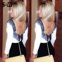 2014 Summer Fashion Women Deep V Back Lace Chiffon Blouse Flower Sexy Women Shirt Camisas Femininas ^&