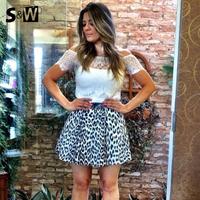2014 New arrive Fashion Summer shirt  Women Casual O-collar White Lace Blouse Women Shirt Roupas Femininas