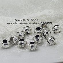 (30 pieces/lot) 8*11mm Antique Silver Metal Lettering Hope Big Hole Beads Findings Fit Fit Pandora Bracelets 7627