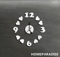 Silver ounds Love Hearts Number  Art Mordern Luxury DIY 3D Crystal Mirror Wall Clock Wall Sticker Living Room Bedroom Decor