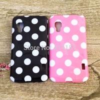 Free Shipping Beautiful Charming Polka Dot Soft Plastic Back Cover Case For LG OPTIMUS L5 II DUAL E455
